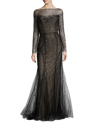 Long-Sleeve Gown with Bateau Neckline