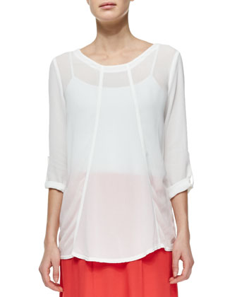 Tabitha Tabbed-Sleeve Georgette Top