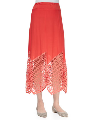 Lauryn Midi Lace-Hem Skirt, Women's