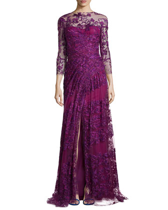 3/4-Sleeve Gown with Embroidered Overlay