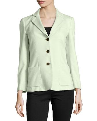 Cashmere Notch Collar Three-Button Jacket