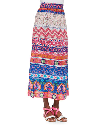 Hazel Printed Silk Long Skirt & Mughal Pattern Silk Scarf, Women's