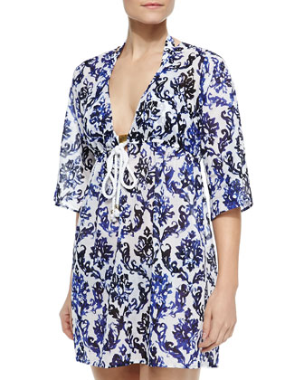Ava Printed Rope-String Tunic Coverup