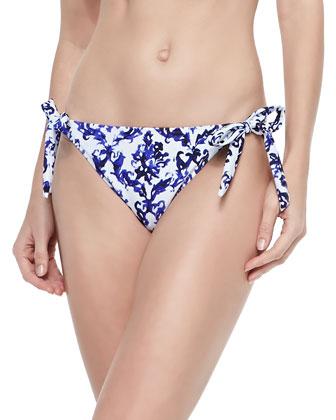 Nikia Printed Halter Swim Top & Long Beach Tie-Side Swim Bottom