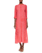 Long Button-Front Eyelet Dress