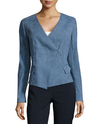 Linen-Blend Wrap Jacket, Indigo