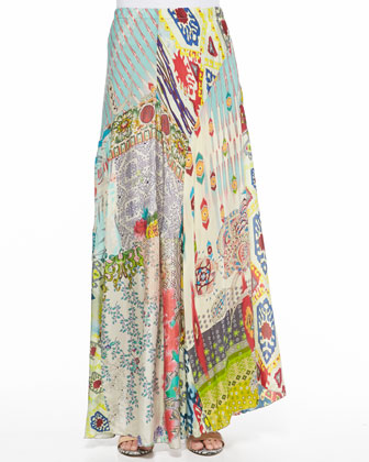 Floral Crochet Vest & Mix Print Long Skirt, Women's