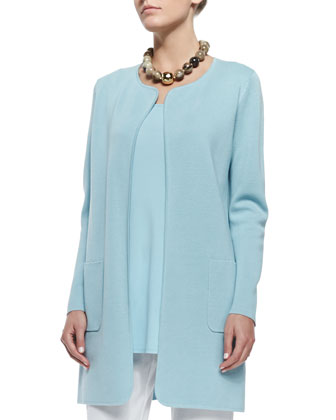 Silk Cotton Interlock Long Jacket, Capri, Petite