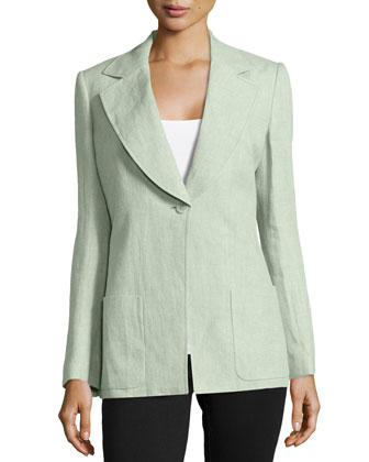 Single-Button Long Linen Jacket