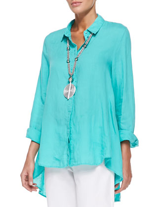 Organic Handkerchief Linen Shirt & Organic Stretch Twill Slim Ankle Pants, ...