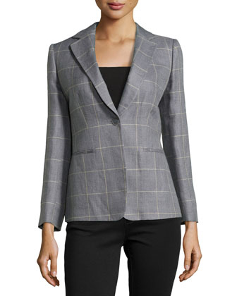 Single-Button Windowpane Plaid Jacket