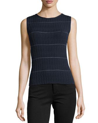 Tank-Style Wave-Pattern Sweater