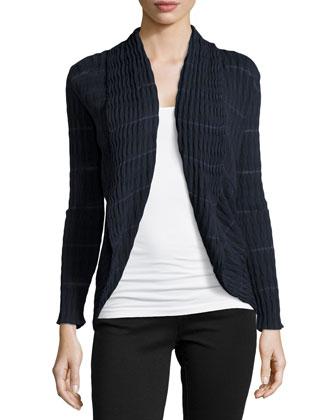 Shawl-Collar Wave-Pattern Cardigan