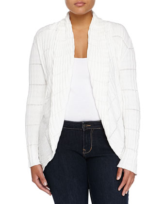 Shawl-Collar Wave-Pattern Cardigan, White