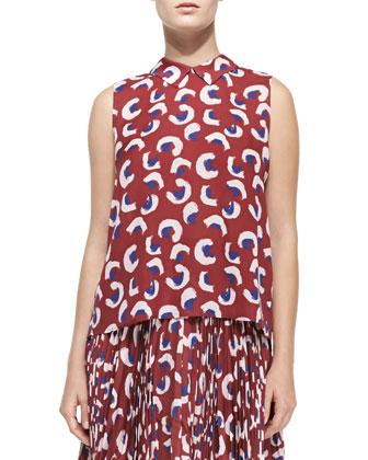 Dorota Printed Sleeveless Top & Gabriela Pleated Printed Skirt