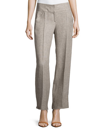 Front Zip Linen Trousers