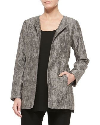 Crinkle Jacquard Long Jacket, Rye, Women's