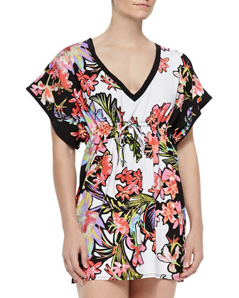 Havana Tropical-Print Jersey Coverup