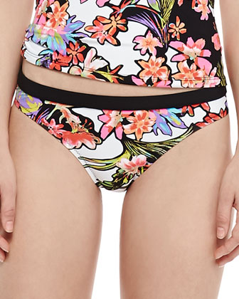 Havana Tropical-Print Zip Rashguard, Tankini Top & Swim Bottom