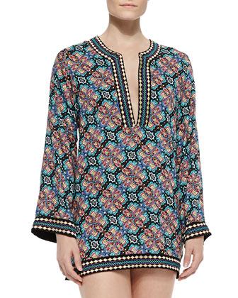 Paloma Contrast-Trim Printed Tunic