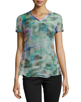 Short-Sleeve Sheer Abstract-Print Blouse