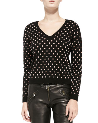 V-Neck Polka Dot Sweater & Flat-Front Leather Moto Pants