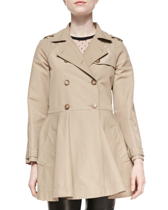 Double-Breasted A-line Skirt Trench Coat, Short-Sleeve D'Esprit Neckline ...