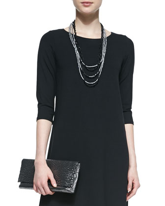3/4-Sleeve Jersey Dress, Beaded Silk Cord Black Necklace, Silver Necklace & ...