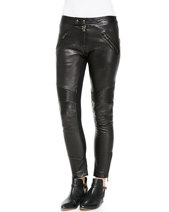 Sleeveless Top with Bow Back & Flat-Front Leather Moto Pants
