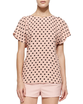 Micro Polka Dot Print Blouse & Stretch Cotton Shorts