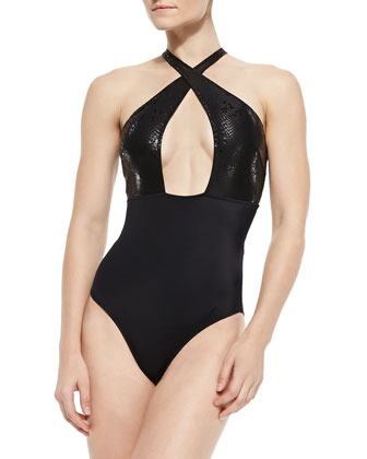 Cylon Snake-Print Cutout Swimsuit
