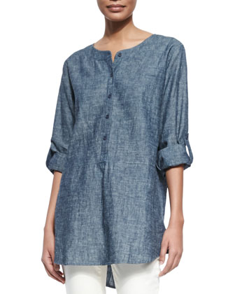 Chambray Long Tunic, Denim, Women's