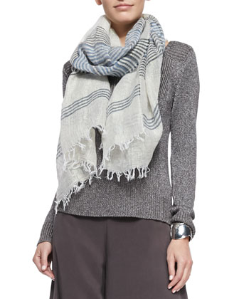 Striped Linen Shine Scarf, Denim