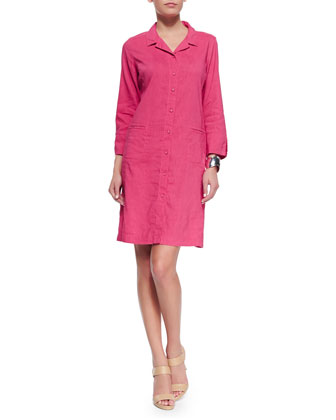 Linen Viscose Stretch Shirtdress, Gingerpink