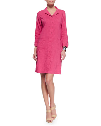 Linen Viscose Stretch Shirtdress, Gingerpink, Women's