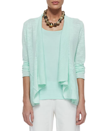 Linen Cotton Slub Cardigan, Pale Aqua, Women's