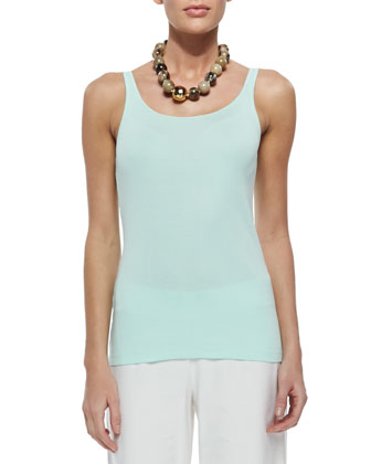 Organic Cotton Slim Tank, Aqua