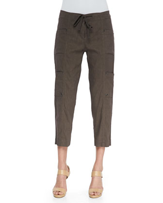 Drawstring Cropped Cargo Pants, Rye