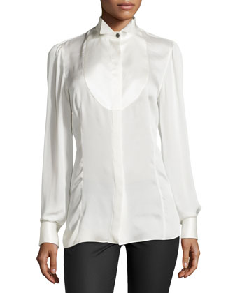 Long-Sleeve Silk Tuxedo Blouse