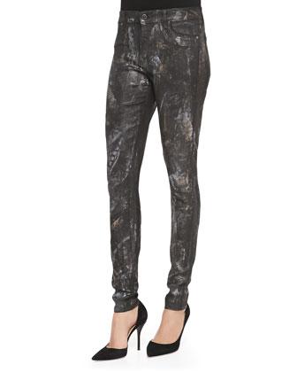 Justified Brushstroke-Print Skinny Jeans