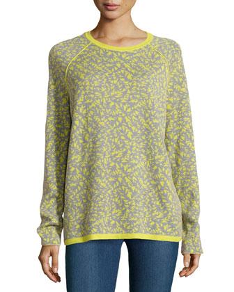 Long-Sleeve Jacquard Sweater, Apple Green