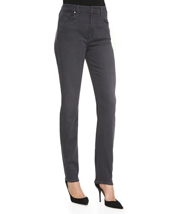 Skinny Soft-Wash Denim Jeans, Gray