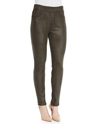 Leatherette Skinny Jeans, Mink