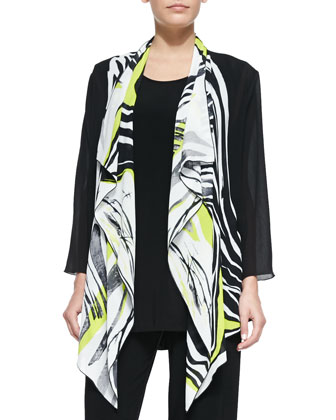 Twist of Lime Waterfall Jacket, Stretch Knit Long Tank & Straight-Leg Pants ...