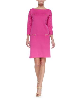 Interlock-Knit Two-Pocket Dress, Petite