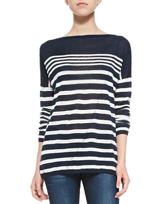Christa Striped Bateau-Neck Pullover