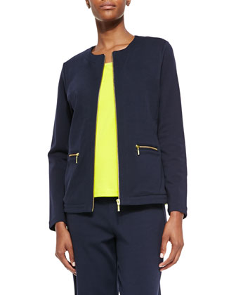 Stretch Interlock Zip-Front Jacket, Sequined Trim Tank & Full-Length Jog ...