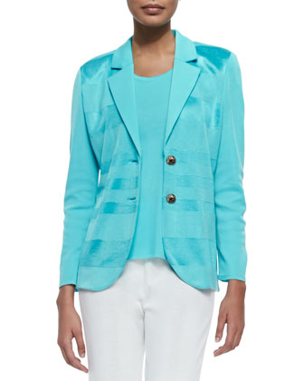 Horizontal Sheen Striped Jacket, Robin, Women's