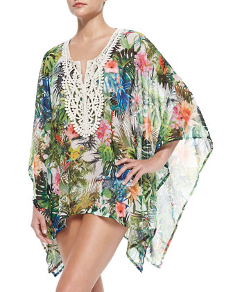 Cocuy Printed Embroidered Short Coverup