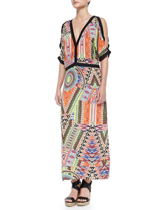 Otun Printed Solid-Trim Maxi Dress